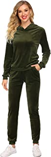 Hotouch Women's Sweatsuit Set Velour Long Sleeve Hoodie and Pants Sport Sweat Suits 2 Piece Tracksuits Outfits