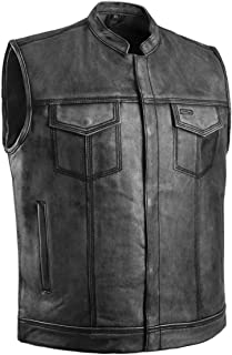 Gray Distressed Top Quality Genuine Leather Men's Motorcycle Riders Vest (XL)