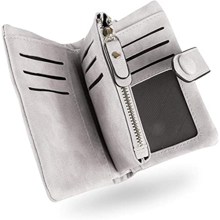 Conisy Geldbörse Damen Kurzer RFID Schutz Geldbeutel Leder Für Frauen - Weich Bequem Süß Portemonnaie mit Viel Kartenfächer (Grau)