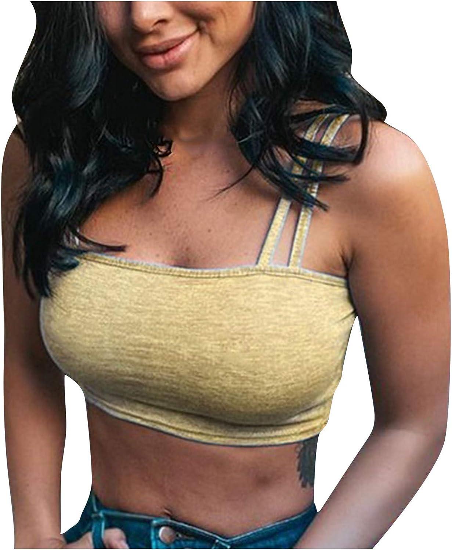 Tank Tops Women's Camisole Solid Color Cami Crop Top Sport Strappy Bandeau Bra