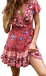 Women's Summer Wrap V Neck Bohemian Floral Print Ruffle Swing A Line Beach Mini Dress