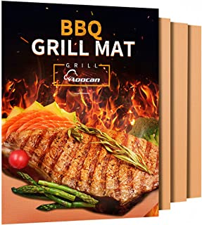 Aoocan Copper Grill Mat - Set of 3 Heavy Duty BBQ Grill Mats - Non Stick, BBQ Grill & Baking Mats - Reusable, Easy to Clean Barbecue Grilling Accessories - Extended Warranty