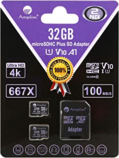 2 Pack 32GB MicroSD Cards with Adapter Pack - Amplim 32 GB Micro SD SDHC TF Memory Card for Nintendo, Android, Camera Dron...