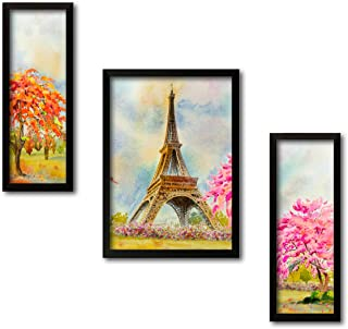 Paper Plane Design Set of 3 Wall Painting with Frames Paris Theme Painting Wall Art Hanging