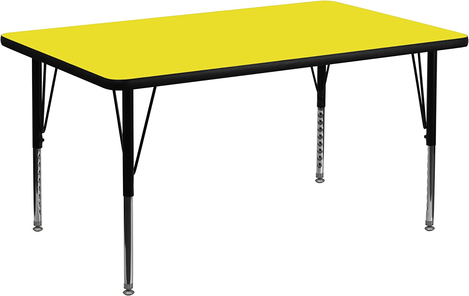 Flash Furniture 30''W by 48''L Rectangular Activity Table with 1.25'' Thick High Pressure Yellow Laminate Top and Height Adjustable Pre-School Legs