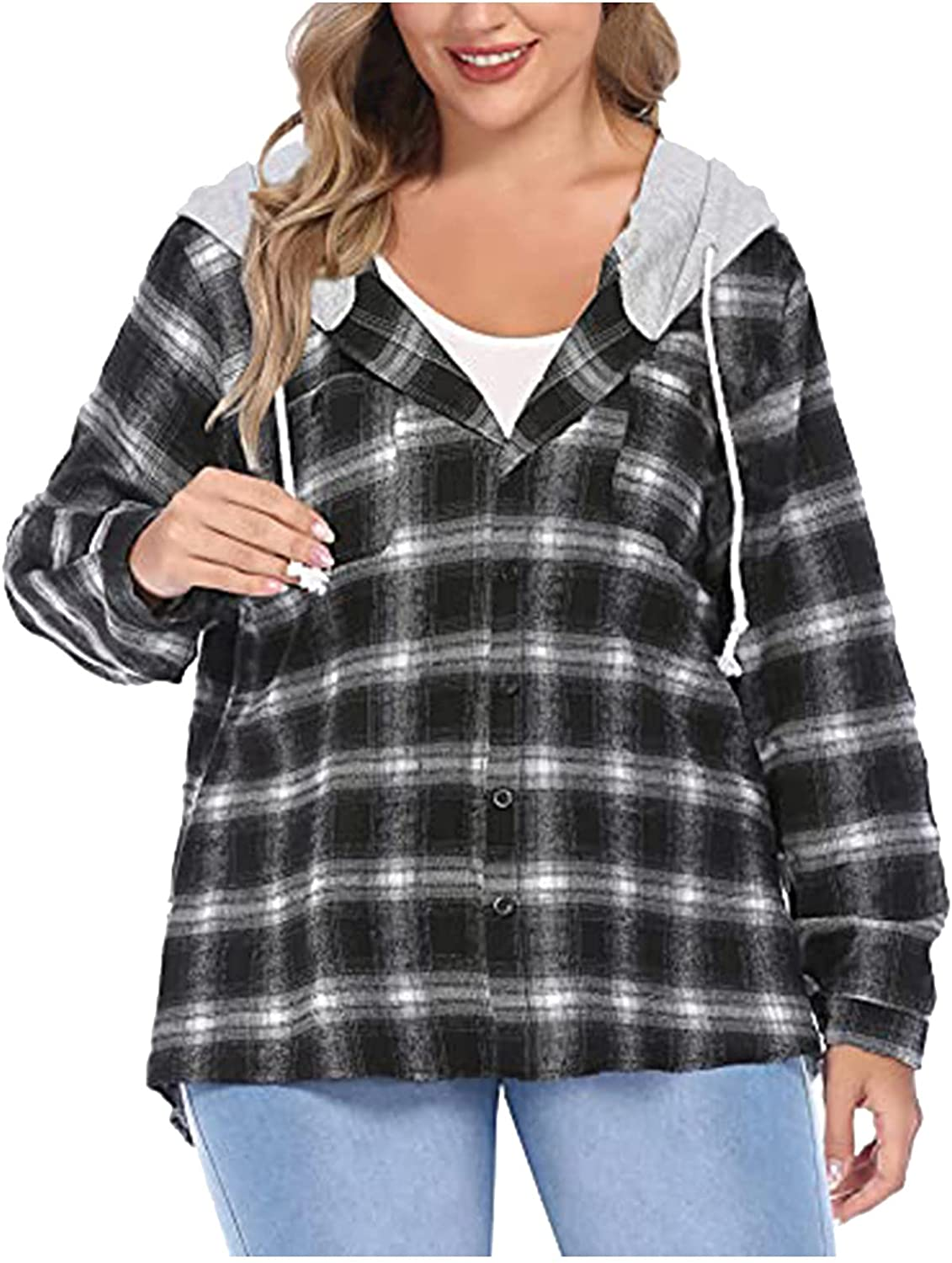 Plus Size Flannel Plaid Hoodie Long Sleeve Plaid Shirt for Women Jacket with Hood Button Down Casual Tops Tunic Blouse