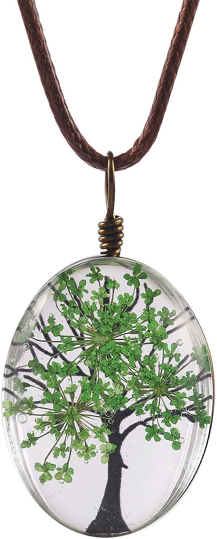 FM FM42 Life of Tree Multi Colors Queen Anne's Lace Dried Flowers Oval Pendant Necklace (4 Colors)