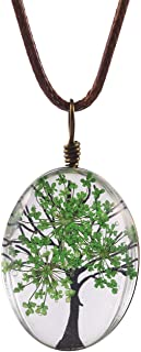 Life of Tree Multi Colors Queen Anne's Lace Dried Flowers Oval Pendant Necklace (4 Colors)