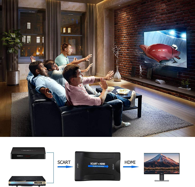 Convertisseur P/éritel vers HDMI Adaptateur 1080P Adaptateur p/éritel dentr/ée HDMI Compatible avec projecteur de moniteur Xbox Sky Blu-ray Player