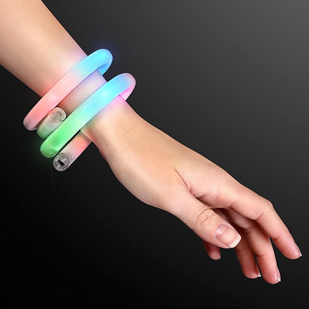 White Tube Bracelets with Flashing Rainbow LEDs (Set of 12)