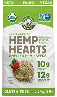 Manitoba Harvest Organic Hemp Hearts Shelled Hemp Seeds, 5lb; with 10g Protein & 12g Omegas per Serving, Non-GMO, Gluten Free
