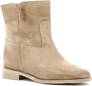 Generico Made in Italy Donna - Made in Italy Stivaletto con Zeppa Interna (Beige)