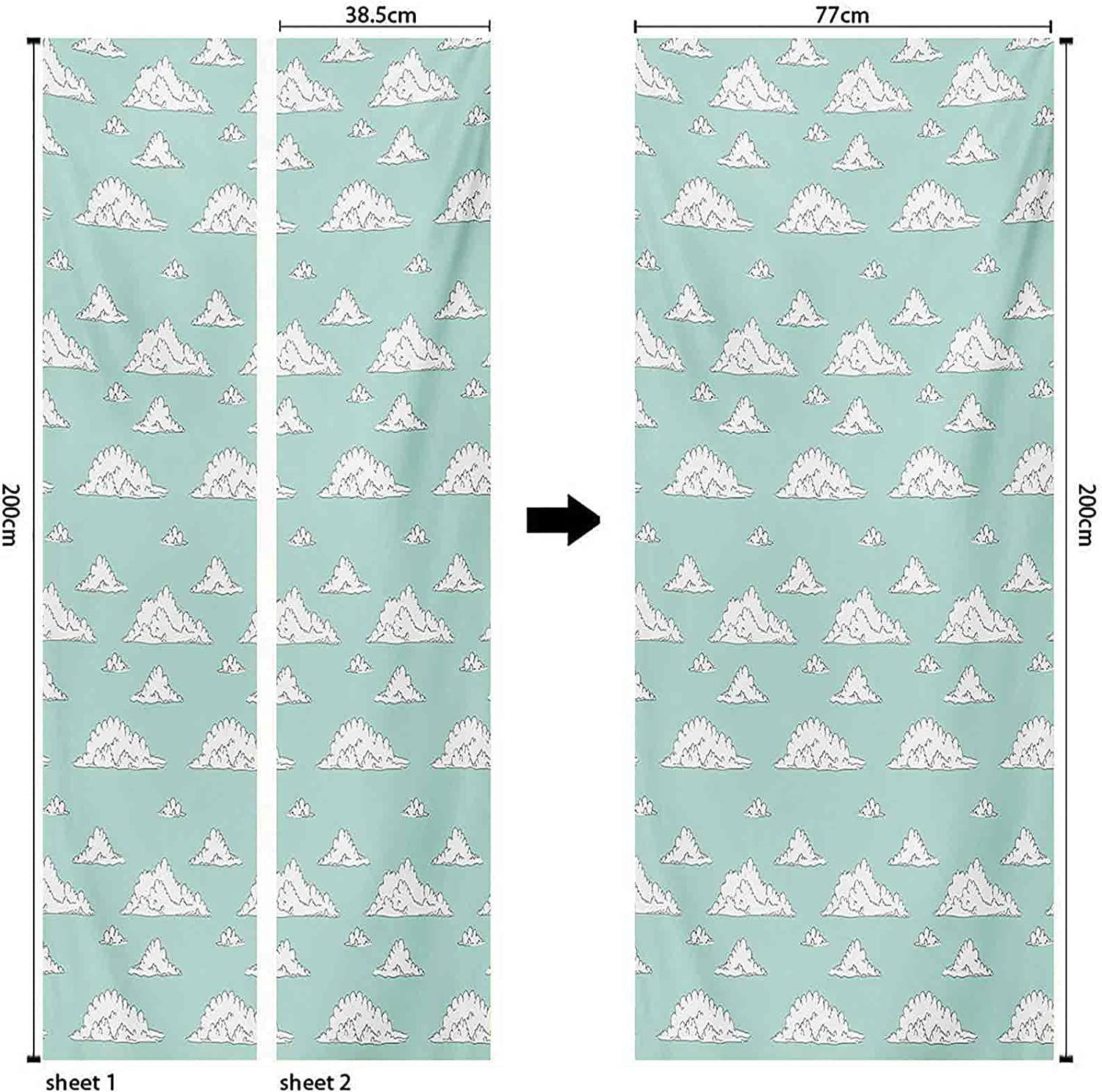 and Interior Door Decals Max 82% OFF Teal White C Ranking TOP9 Cartoon Fluffy Style