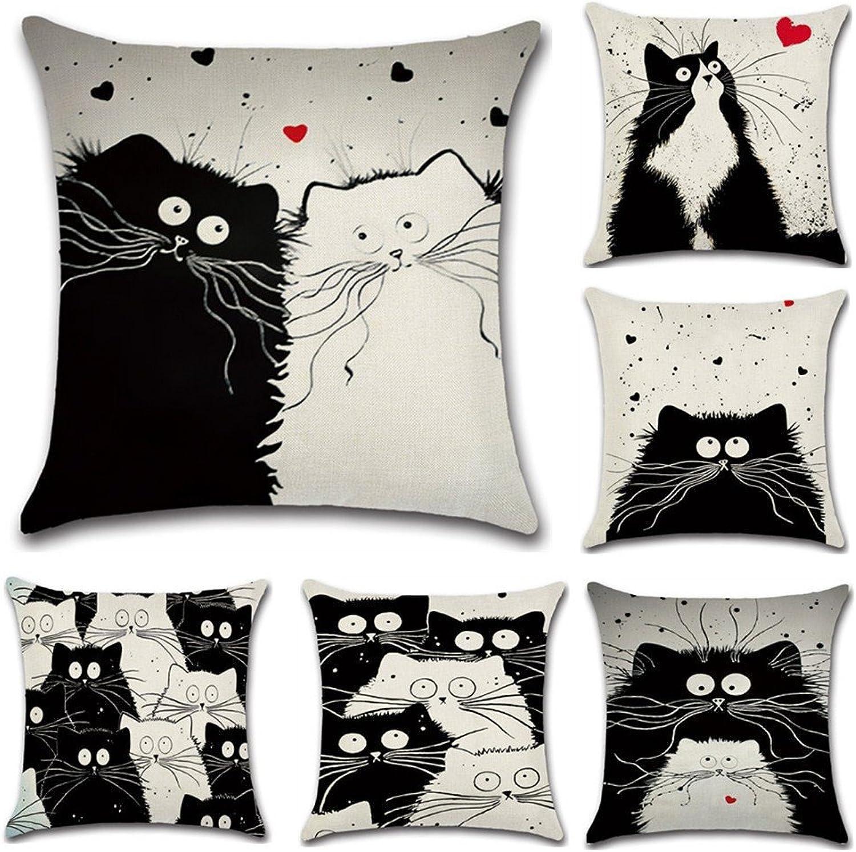 6Piece Set Flax Pillowcase Fashion Cartoon Cat Cushion Cover 45  45cm