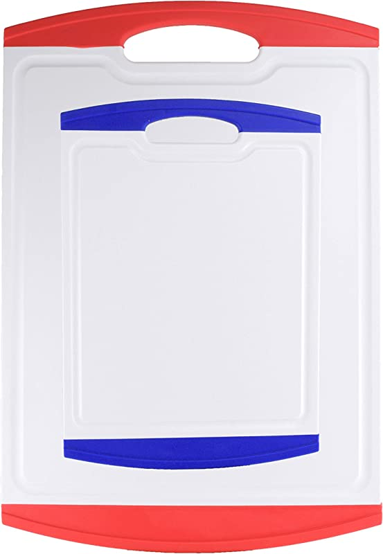 Antibacterial Cutting Board Set Large 17 43 2cm Small 11 5 30cm Dishwasher Safe Non Slip Soft Grip Easy To Clean Stain Odor Free BPA Free