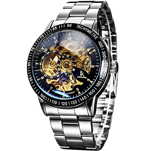 Alienwork IK Automatic Watch for Men Women with Stainless Steel Strap  Analogue Skeleton 843c093b3f