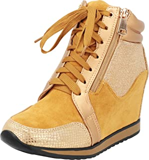 Cambridge Select Women's Closed Toe Mixed Media Glitter Lace-up Side Zip Fashion Sneaker Wedge