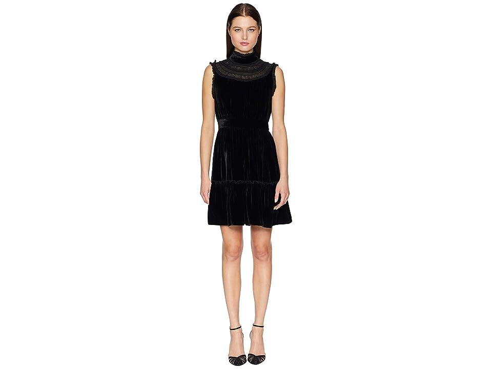 Kate Spade New York Wild Ones Velvet Lace Trim Dress (Black) Women