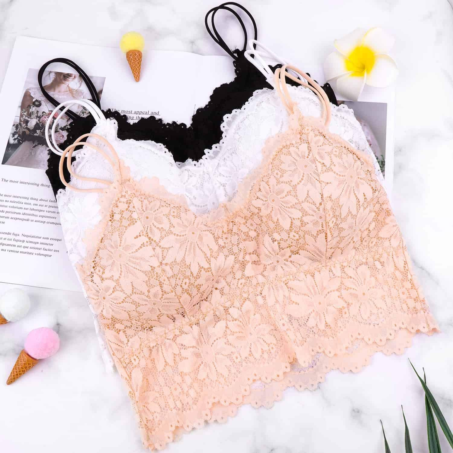 PAXCOO 3 Pcs Lace Bralette for Women Lace Bralette Padded Lace Bandeau Bra with Straps for Women Girls