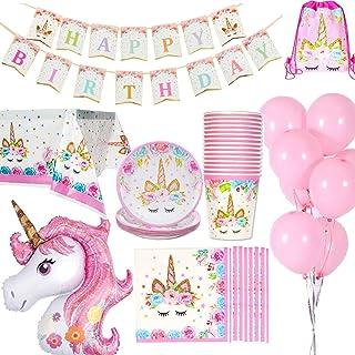 Jolily Décorations Anniversaire Licorne Pack Fournitures Vaisselle 16 invités 1 Nappe Housse 16 Tasses 16 Assiettes 16 Ser...