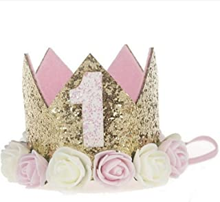 Baby Princess Tiara Crown Baby Girls/Kids First Birthday Hat Sparkle Gold Flower Style with Artificial Rose Flower