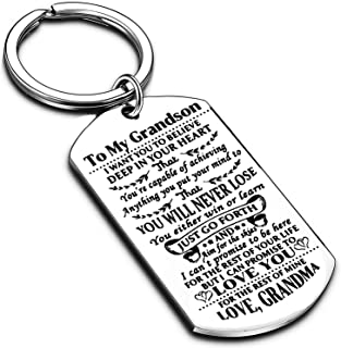 Nimteve Keychain to My Grandson Granddaughter from Grandma I Want You to Believe Love Mom Dad Dog Tag Military Air Force N...