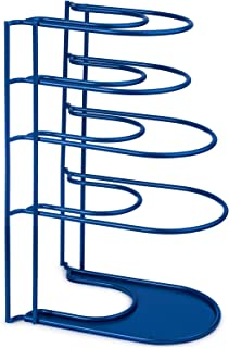 Heavy Duty Pan Organizer, Extra Large 5 Tier Rack - Holds Cast Iron Skillets, Dutch Oven, Griddles - Durable Steel Construction - Space Saving Kitchen Storage - No Assembly Required - Blue 15-inch