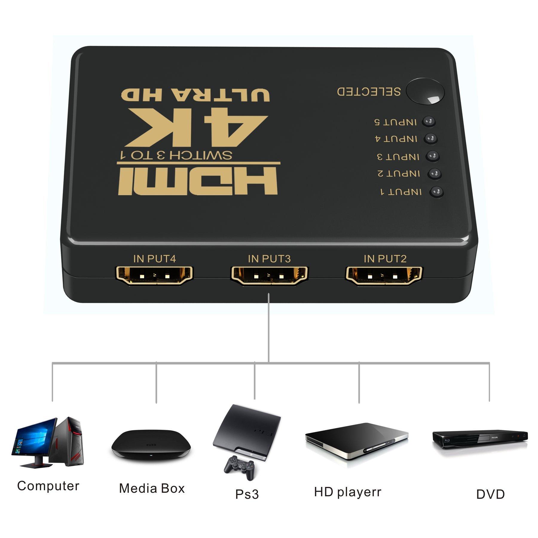 HDMI Switch,GANA HDMI Switch 4K HDMI Conmutador 5 entradas 1 con 4 ...