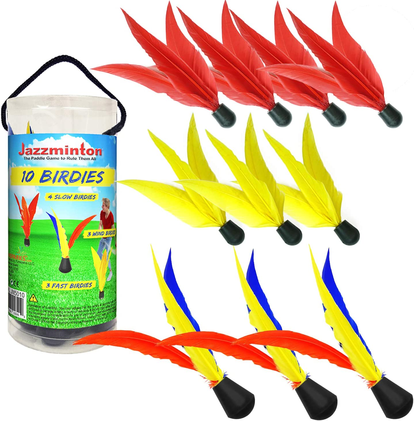 Funsparks Jazzminton 10 Replacement Birdies or Shuttlecocks for Indoor and Outdoor Game - Played at Parks, Beach, Lawn, Yard, or Tailgating
