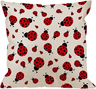 HGOD DESIGNS Ladybug Pillow Cover,Decorative Throw Pillow Ladybird Seamless Pattern Pillow cases Cotton Linen Outdoor Indoor Square Cushion Covers For Home Sofa couch 18x18 inch Red