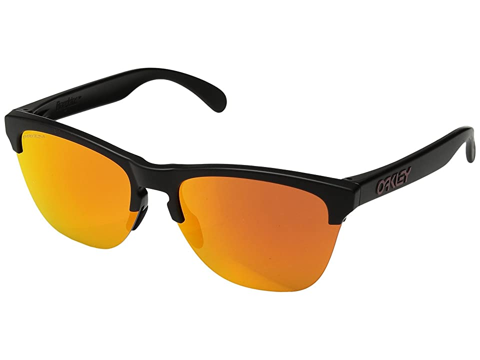 Oakley Frogskins Lite (Semi Matte Black w/ Prizm Ruby) Athletic Performance Sport Sunglasses