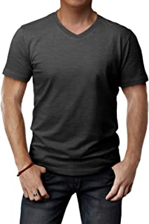 H2H Mens Casual Slim Fit Short Sleeve T-Shirts Cotton Blended Soft Lightweight V-Neck/Crew-Neck