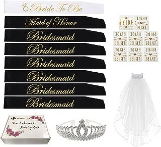 Bachelorette Party SASH Set:Bride to be sash,1 Maid of Honor sash,6 Bridesmaids sash,Bachelorette Sashes,Team Bride Sash,Tiara,Veil/,8 Bride Tattoos for Bridesmaids, Bridal Shower Favors.