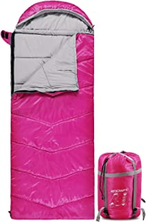 REDCAMP Kids Sleeping Bag for Camping, 32-77 Degree 3 Season Warm or Cold Weather Fit Boys, Girls & Teens Blue/Rose Red