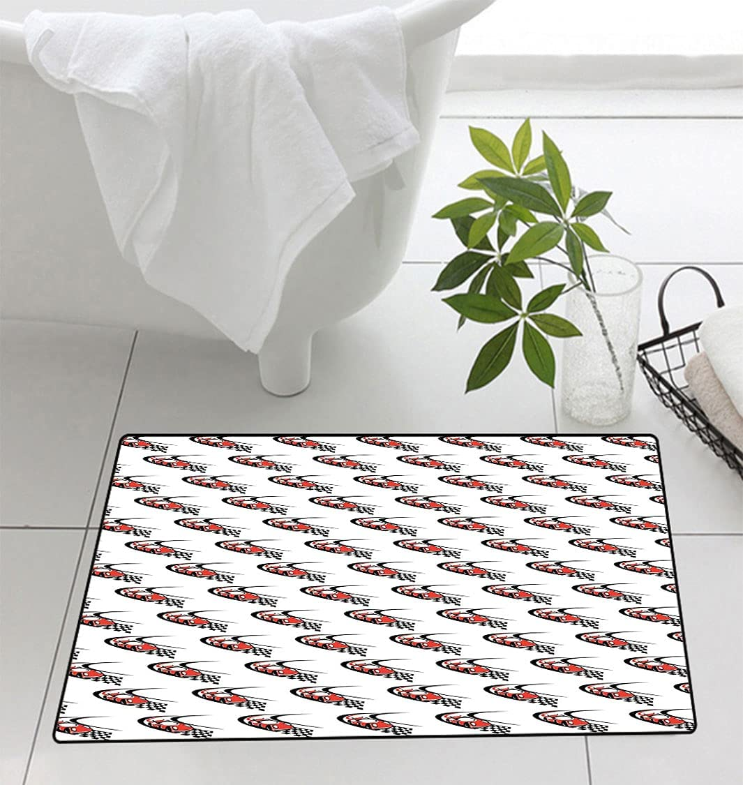 Cars Printed Floor mat Bath Speeding Fast Max 63% OFF on Red Race a Ranking integrated 1st place Car