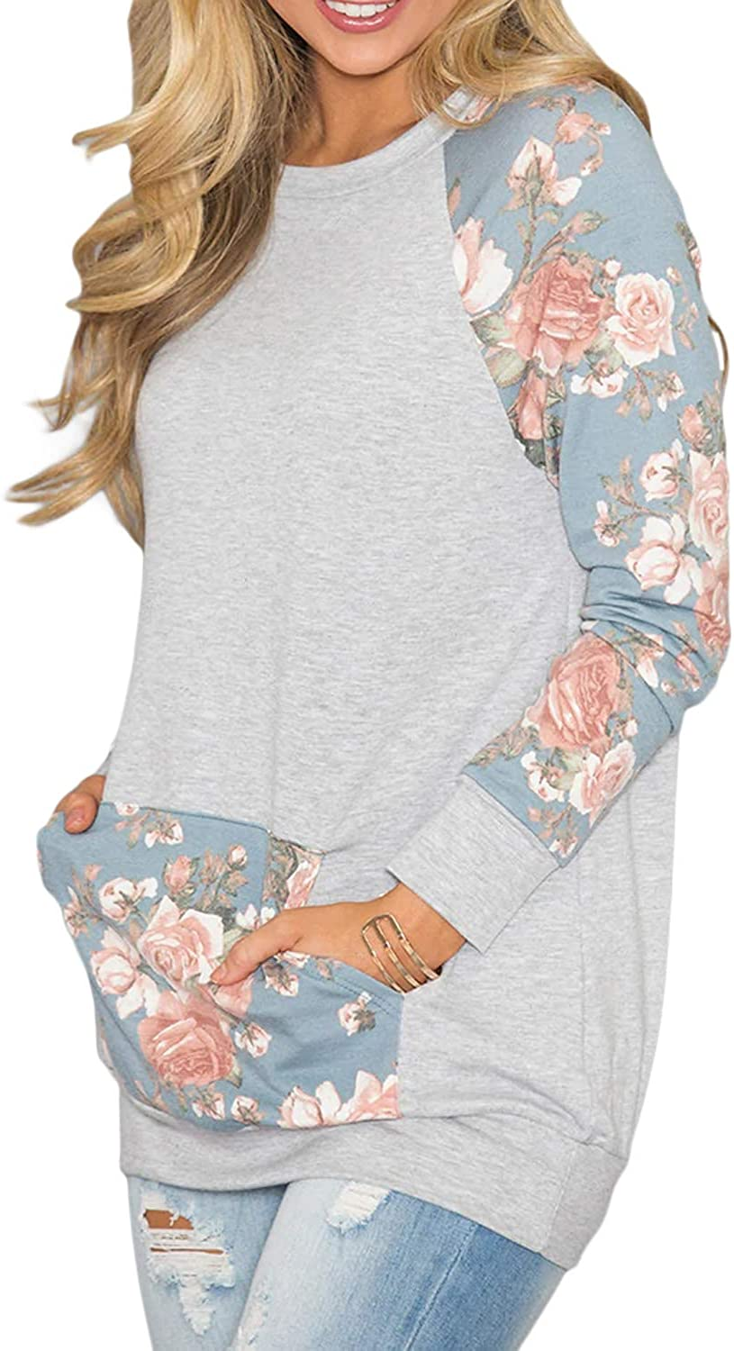 BLENCOT Womens Lightweight Floral Printed Long Sleeve Tunic Sweatshirt Tops with Kangaroo Pocket