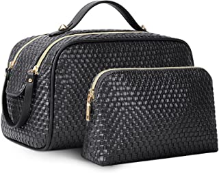 Makeup Bag 2 Pcs Large Cosmetic Bag Portable Make Up Bag Travel Toiletry Bag Waterproof Multifunction Organizer Storage Ba...