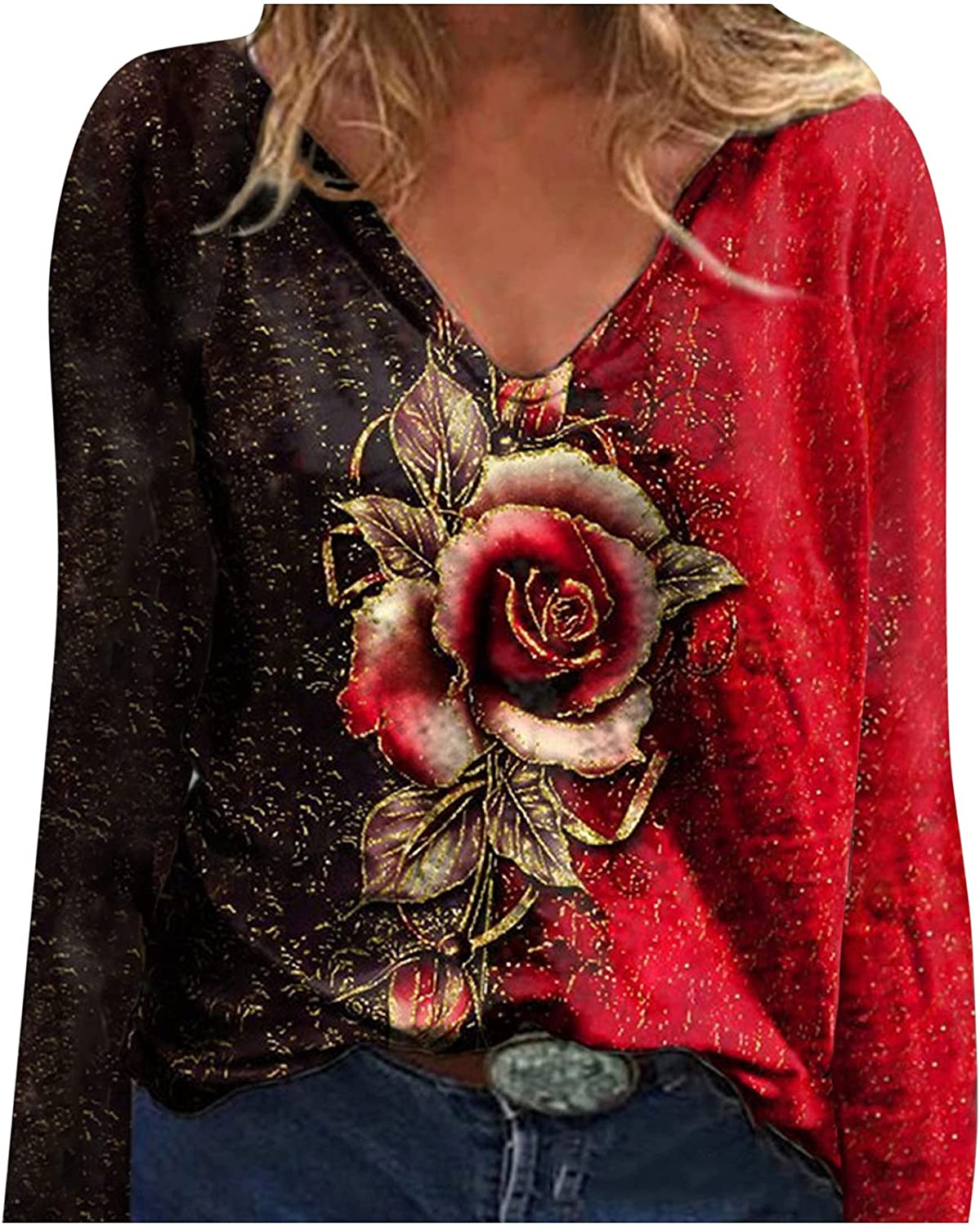 Meichang Women's V Neck Tunic Tops Casual Long Sleeve T Shirts Colorful Rose Flower Print Blouses Loose Comfy Tee