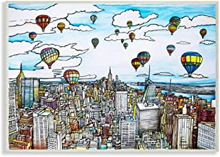 Stupell Industries Hot Air Balloons Over New York City Drawing, Design by Enrico Fossati Wall Art 13x19 aa-259_wd_13x19