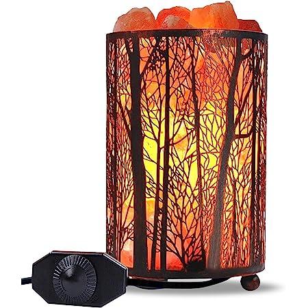 "Himalayan Salt Lamp, Salt Rock Lamp Natural Night Light in Forest Design Metal Basket with Dimmer Switch (4.1 x 6.5"" 4.4-5lbs), 25Watt Bulbs & ETL Cord 1 Pack"