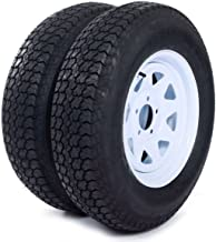 "AutoForever 2pcs Trailer Tires & Rims ST205/75D15 F78-15 205/75-15 15"" 5 Lug 4.5"" Wheel White Spoke"