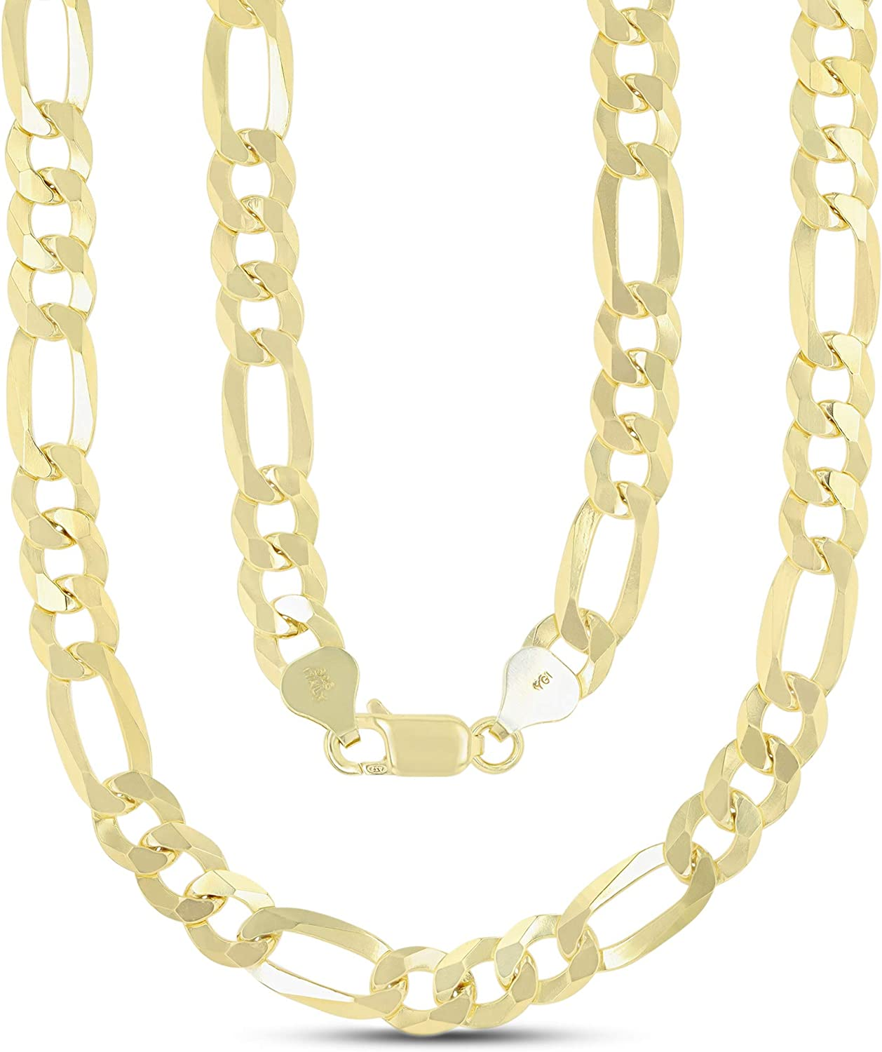 14K Kansas City Mall Gold or Rhodium Plated Silver Chain 1mm-13m Men Figaro New popularity For