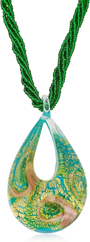 Ross-Simons Italian Murano overseas trend rank Glass 6-Strand in Beaded Necklace 18k