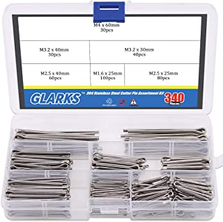 Glarks 340-Pieces 6 Sizes 304 Stainless Steel Cotter Pin Clip Key Fastner Fitting Assortment Kit for Automotive, Mechanics, Car Garage, Power Equipment, Cars, Trucks, Lawn Mower, Small Engine Repair