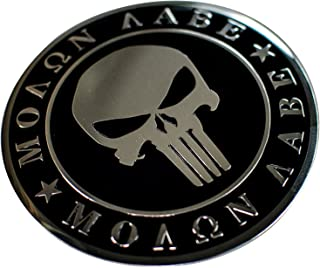 ALUMINUM 2nd Amendment Decal Sticker Bumper Molon Labe Right To Bear Arms NRA (Dome Shape)