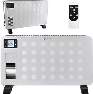 MT MALATEC 8962 - Radiador eléctrico (con Mando a Distancia, Pantalla LCD, protección contra sobrecalentamiento, 2300 W), Color Negro y Blanco, Blanco, 70x22x44cm