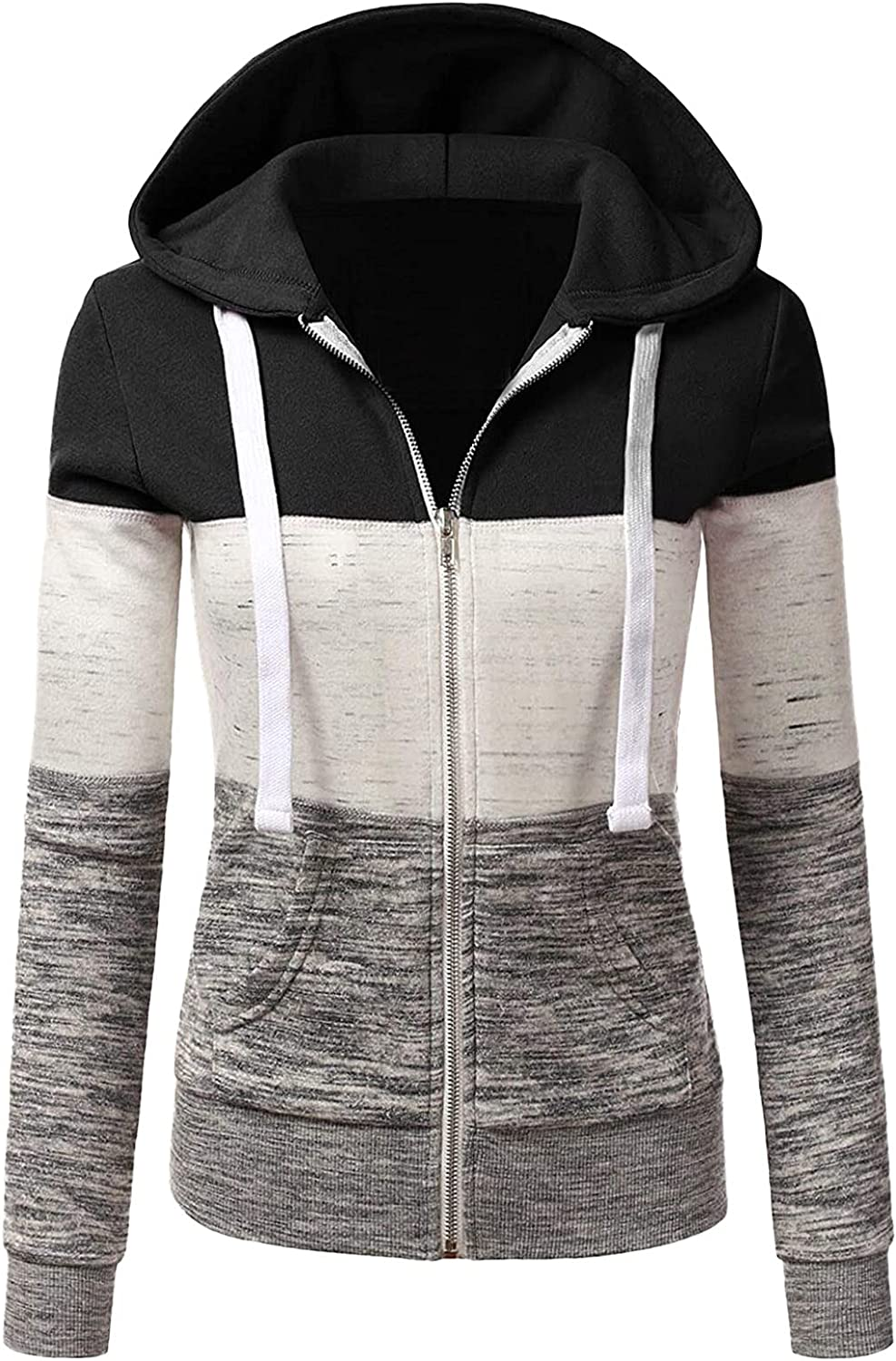 Sweatshirts for Women Color Block Hoodie Sweatshirts Jumper Stitching Color Drawstring Pullover Casual Tops with Pockets