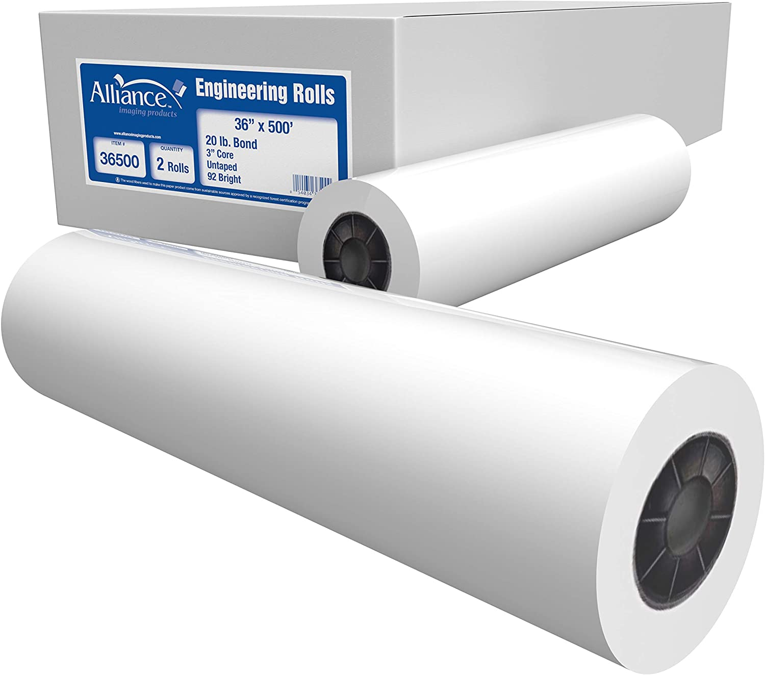 """Alliance Wide Format Popular brand Easy-to-use Paper 36"""" Engin Rolls Bond x 500'"""
