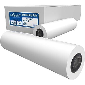 "Alliance Paper Rolls, Bond Engineering, 36"" x 500', 92 Bright, 20lb - 2 Rolls Per Carton with 3"" Core"