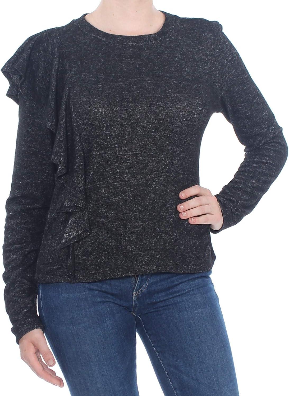 bar III Womens Asymmetrical Ruffled Pullover Sweater